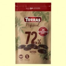 Gotas Chocolate Negro 72% Cacao Sin Azúcares añadidos - 1 kg - Torras