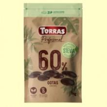 Gotas Chocolate Negro 60% Cacao con Stevia - 1 kg - Torras