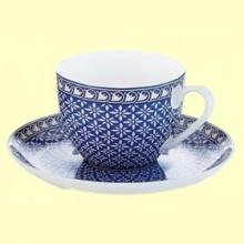 Taza y Plato de Porcelana Azul Antonie - 170 ml - Cha Cult