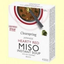 Sopa instantánea Miso Picante con Algas - 4 x 10 gramos - Clearspring