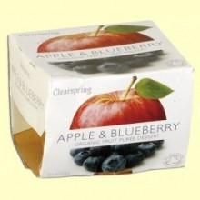 Puré de Frutas Orgánicas - Manzana y Arándano - 2 x 100 gramos - Clearspring