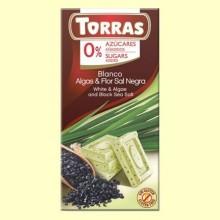 Chocolate Blanco con Algas y Flor de Sal Negra sin Azúcar - 75 gramos - Torras