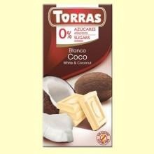Chocolate Blanco con Coco sin Azúcar - 75 gramos - Torras