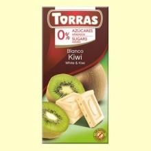 Chocolate Blanco con Kiwi sin Azúcar - 75 gramos - Torras