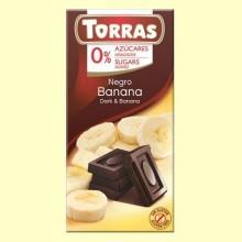 Chocolate Negro con Banana sin Azúcar - 75 gramos - Torras