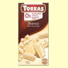 Chocolate Blanco sin Azúcar - 75 gramos - Torras