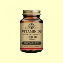 Vitamina D3 1000IU 25µg Masticable - 100 comprimidos - Solgar
