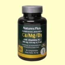 Ca/Mg/D3 + K2 - Sistema Óseo - 30 comprimidos - Natures Plus
