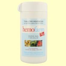 Toallitas higiénicas hemorroides - 60 toallitas - Hemofarm Plus