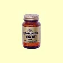 Vitamina D3 600 UI 15 mcg - Solgar - 60 cápsulas vegetales