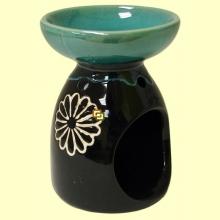 Quemador una pieza de cerámica para aceites esenciales Verde Marrón - Signes Grimalt