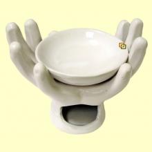 Quemador Aceites Esenciales Cerámica Forma Mano Blanca - Signes Grimalt