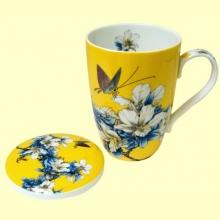 Taza para Té con tapa amarilla motivos florales - 33 ml - Signes Grimalt